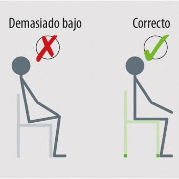 Postura correcta de la espalda al sentarse.